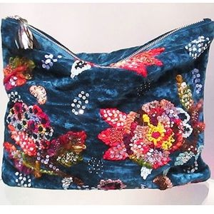 Beaded & Embroidered Crushed Velvet Clutch, NWT